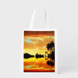 Orange Sunset Reflected in Lake Trees Silhouetted Grocery Bag