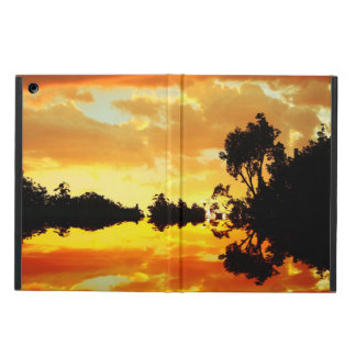 Orange Sunset Reflected in Lake Trees Silhouetted iPad Air Cover