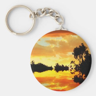 Orange Sunset Reflected in Lake Trees Silhouetted Keychain