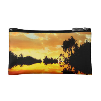 Orange Sunset Reflected in Lake Trees Silhouetted Makeup Bag