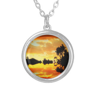 Orange Sunset Reflected in Lake Trees Silhouetted Round Pendant Necklace