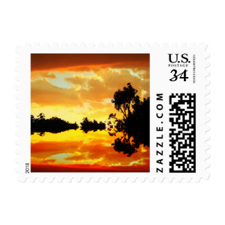 Orange Sunset Reflected in Lake Trees Silhouetted Postage Stamp