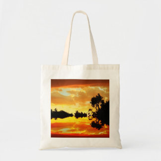 Orange Sunset Reflected in Lake Trees Silhouetted Tote Bag
