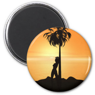 Orange sunset scenery magnet