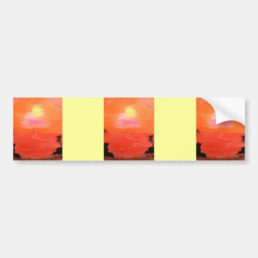 Orange Sunset Sky Painting Car Bumper Sticker