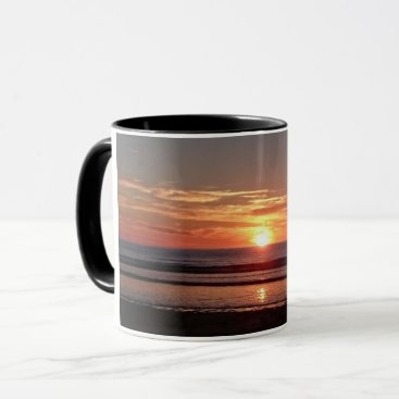 Beach Themed Orange sunset summer sunny seaside view mug