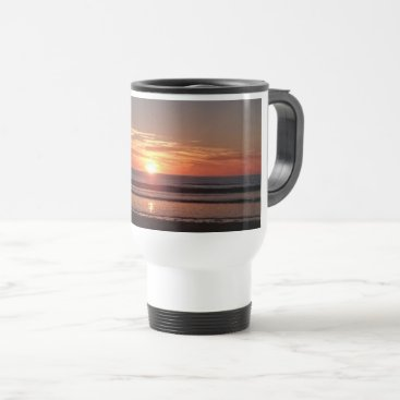Beach Themed Orange sunset summer sunny seaside view travel mug