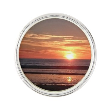 Beach Themed Orange sunset sunny seaside sky lapel pin