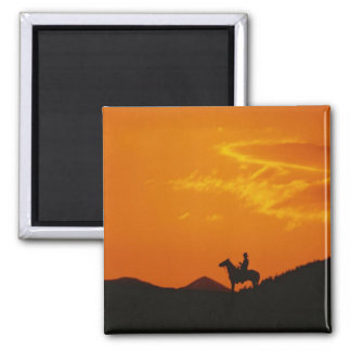 Orange Sunset with Cowboy Silhouette 2 Inch Square Magnet