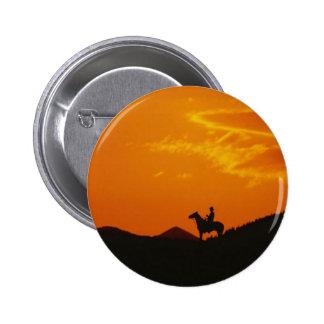Orange Sunset with Cowboy Silhouette 2 Inch Round Button