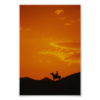 Orange Sunset with Cowboy Silhouette Poster