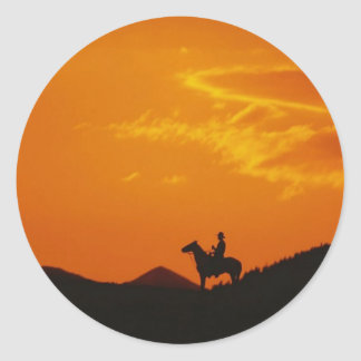 Orange Sunset with Cowboy Silhouette Stickers