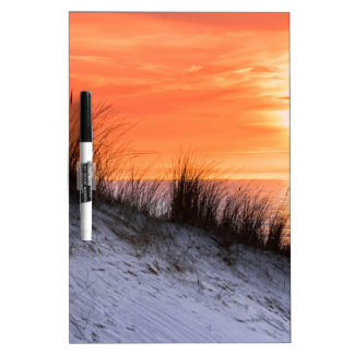 Orange sunset with dune and sea dry erase board