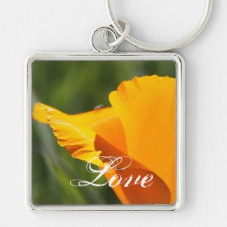 Orange Surprise Silver-Colored Square Keychain