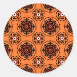 Orange Suzani Pattern Classic Round Sticker