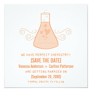 Orange Sweet Chemistry Save the Date Invite