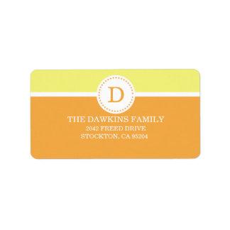 Orange Sweet Monogram Custom Monogrammed Family Custom Address Label