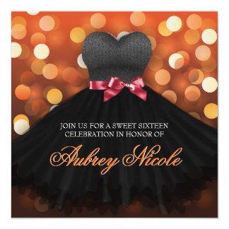 Orange Sweet Sixteen Black Dress Birthday Invite