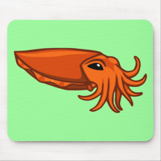 Orange Swimming Cuttlefish Mouse Pad