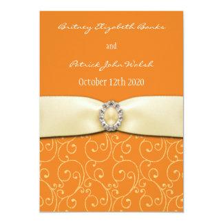 "Orange Swirl and Ivory Ribbon Wedding Invitations 5"" X 7"" Invitation Card"
