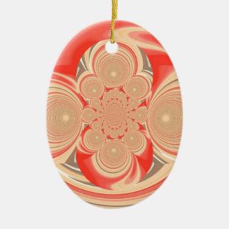 Orange swirl design ceramic ornament