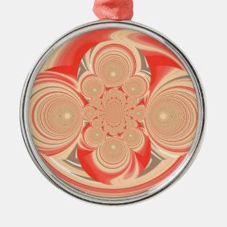 Orange swirl design metal ornament