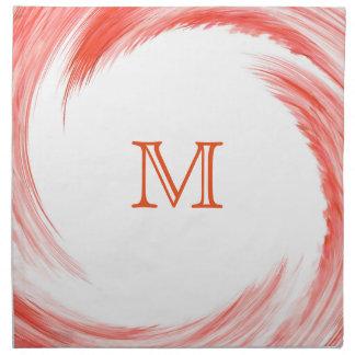 Orange Swirl Modern Abstract Monogram Napkin