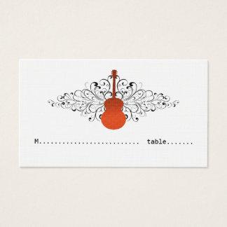 Orange Swirls Guitar Place Card