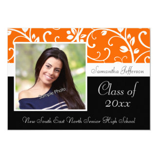 "Orange Swirly Vine Photo Graduation Announcement 5"" X 7"" Invitation Card"