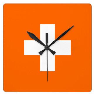 Orange Swiss Cross Clock
