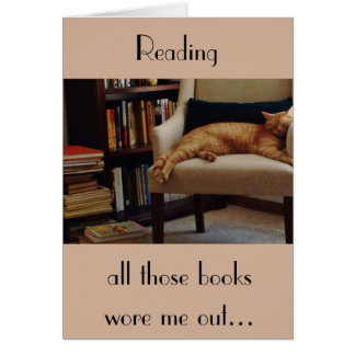 Orange Tabby Cat and Books Card