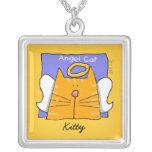 Orange Tabby Cat Angel Personalize Pendant