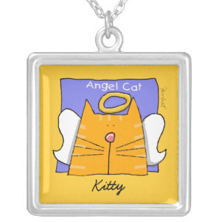 Orange Tabby Cat Angel Personalize Silver Plated Necklace