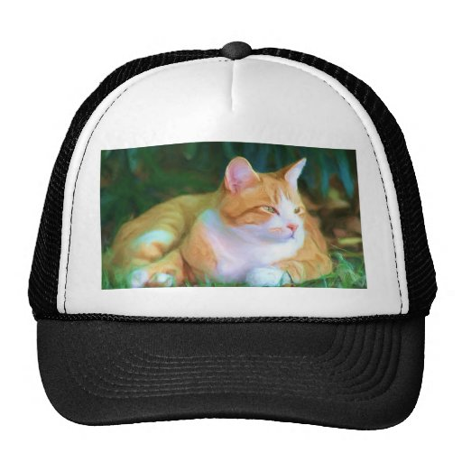 Orange Tabby Cat Cap Mesh Hat