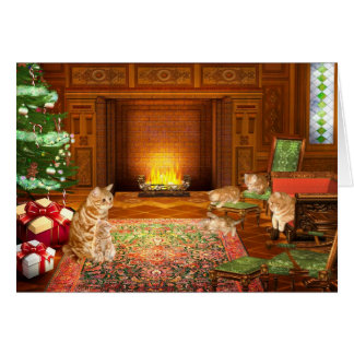 Orange tabby cat Christmas family Card