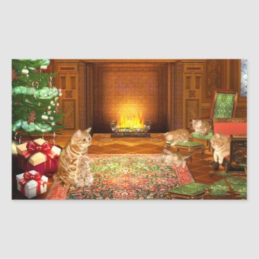 Christmas Themed Orange tabby cat Christmas family Rectangular Sticker