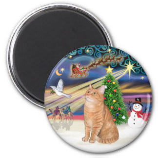 Orange Tabby Cat - Christmas Magic 2 Inch Round Magnet