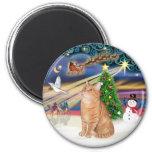 Orange Tabby Cat - Christmas Magic Fridge Magnet