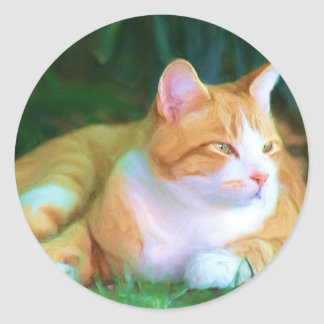 Orange Tabby Cat Classic Round Sticker