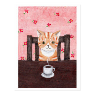 Orange Tabby Cat Coffee Illustration Postcard