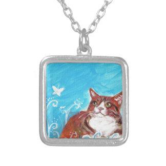 Orange tabby cat eyes butterfly custom necklace