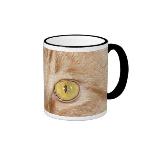 Orange Tabby Cat Eyes Ringer Coffee Mug