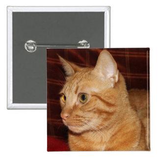 Orange Tabby Cat Face Profile 2 Inch Square Button