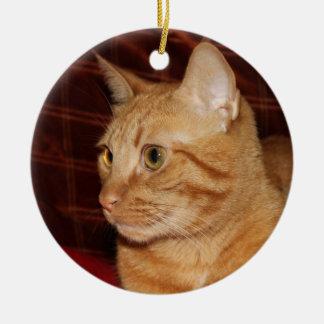 Orange Tabby Cat Face Profile Ceramic Ornament
