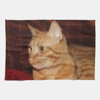 Orange Tabby Cat Face Profile Kitchen Towel