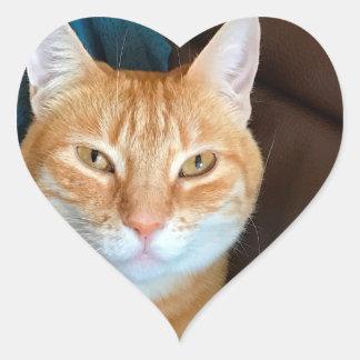 Orange tabby cat heart sticker