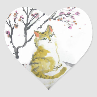 Orange Tabby Cat Heart Stickers