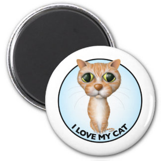 Orange Tabby Cat - I Love My Cat 2 Inch Round Magnet