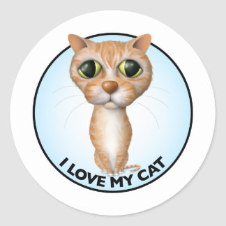 Orange Tabby Cat - I Love My Cat Classic Round Sticker
