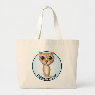 Orange Tabby Cat - I Love My Cat Large Tote Bag